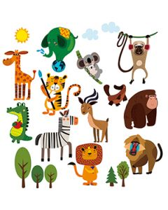 Jungle Adventure Dieren Muurstickers