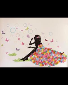 Bloemenmeisje met bellenblaas