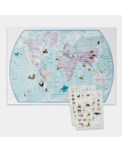 Wereldkaart met stickers - 85 cm (b) x 60 m (h)