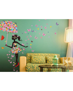 Bloemenmeisje met paraplu