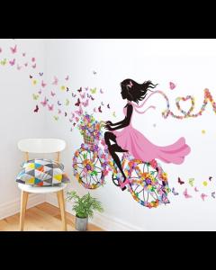 Bloemenmeisje op de fiets