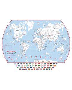 Wereldkaart voor kinderen (inkleurbaar) - 84 (b) x 60 (h) cm