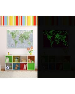 Glow-in-the-dark Wereldkaart - 84 cm (b) x 60 cm (h)