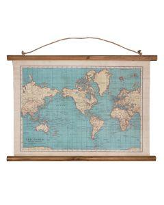 Klassieke wereldkaart (canvas) - 54 x 74 cm